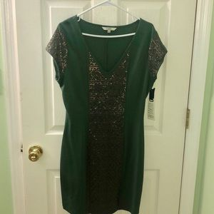 BB Dakota - midi bodycon green & copper dress